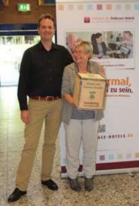 Timo Haller und Katharina Weidenfeld am Tag der Inkusion im Mucher FIT